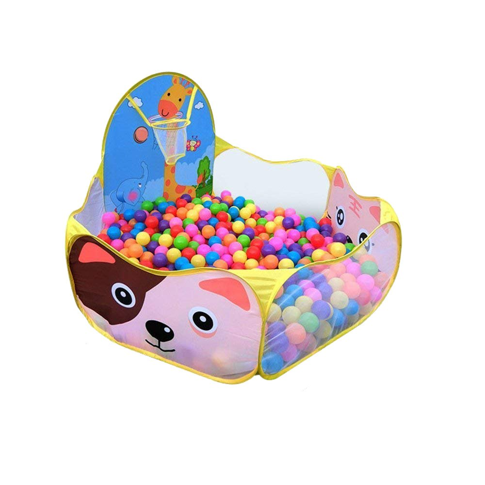 Ciaoed Kids Ball Pit, Indoor & Outdoor Playpen with Basketball Hoop Zippered Storage Bag (Balls not Included)(Pink)