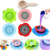 Acrylic Pouring Strainers, Angela&Alex 5 PCS Flow Painting Tools Christmas DIY Kits Drawing Sets Flower Strainers Plastic Silicone Drain Basket Unique Pattern Train Art Supplies