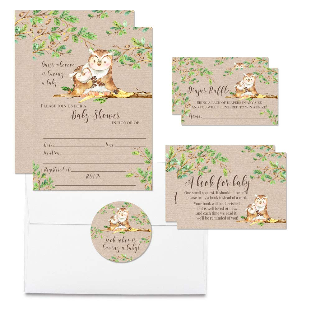 Deluxe ''Guess Whooo'' Cute Watercolor Owl Baby Shower Party Bundle, Includes 20 each of 5''x7'' Fill In Invitations, Diaper Raffle Tickets, Bring a Book Cards & 2'' Thank You Favor Stickers w/ Envelopes