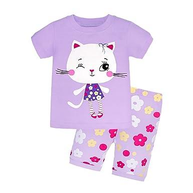 ff02e5d44899e Backbuy Été Enfant Fille Manche Courte Ensemble de Pyjama Chat 2-7ans (2 Ans