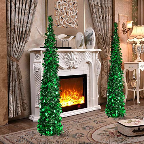 Joy-Leo 5 Foot Green Pop-up Collapsible Tinsel Pencil Indoor Christmas Tree with Shiny Sequins for Fireplace & Party & Office & Classroom, Beach Folding Artificial Xmas Trees for Home Decoration by Joy-Leo (Image #1)