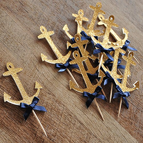 Anchor Cupcake Toppers. Nautical Baby Shower Decorations.