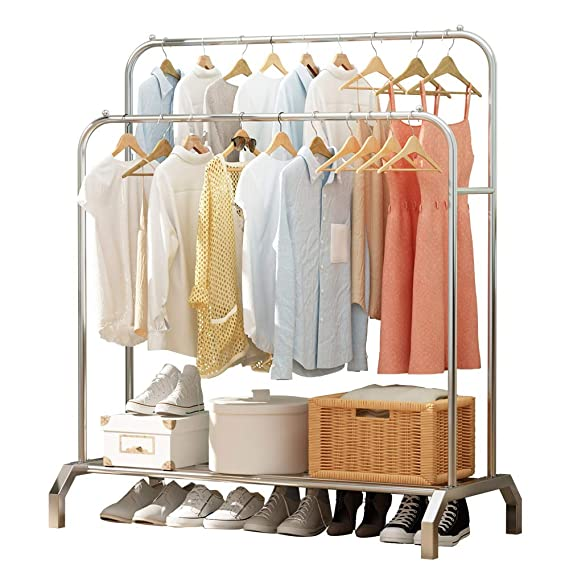 UDEAR Garment Rack Freestanding Hanger Double Rods Multi-Functional Bedroom Stainless Steel Clothing Rack, Silver