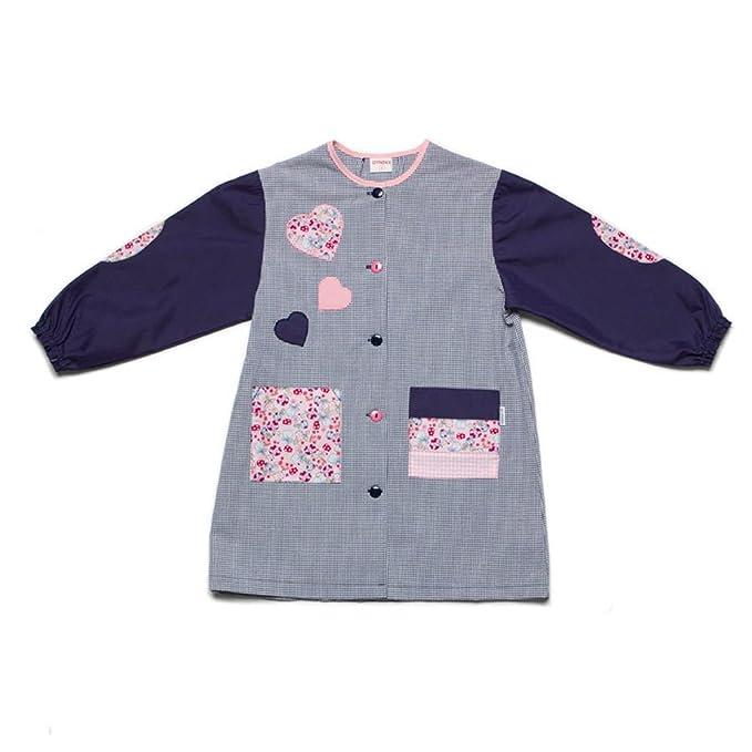 Dyneke Bata escolar botón azul Corazones rosa (personalización opcional gratuita con nombre bordado) (