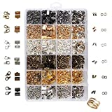 Unime Jewelry Findings Set Jewelry Making Kit Jewelry Findings Starter Kit Jewelry Beading Making Kit with Lobster Clasps, Jump Rings, Ribbon Ends, Ribbon Clamp Crimps, Six Different Colors