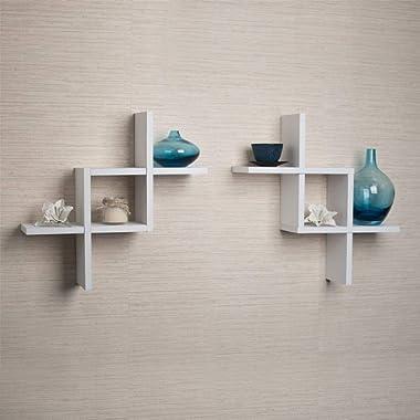 Danya B FF2513W Set of 2 Reversed Criss Cross White Shelves, 2,