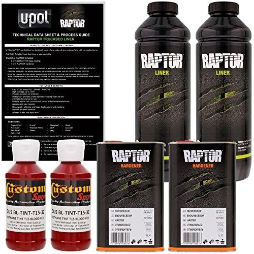 Concrete Texture Coating - U-POL Raptor Blood Red Urethane Spray-On Truck Bed Liner & Texture Coating, 2 Liters