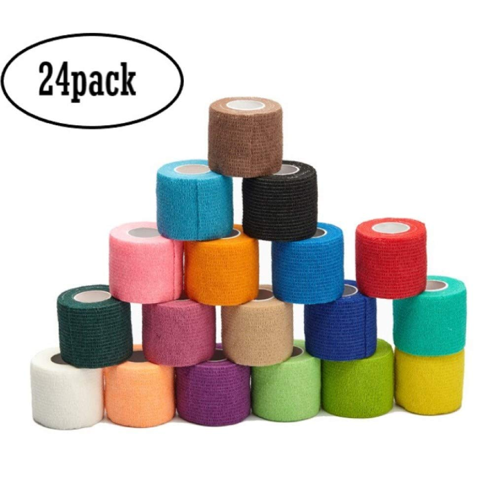 LDS-JL 2 inch Vet Wrap Tape Bulk, FDA Approved, Cohesive Bandage, Self Adherent Rap, Adhesive Stick, Dog Cat Horse,Assorted Colors 24 Packs by LDS-JL