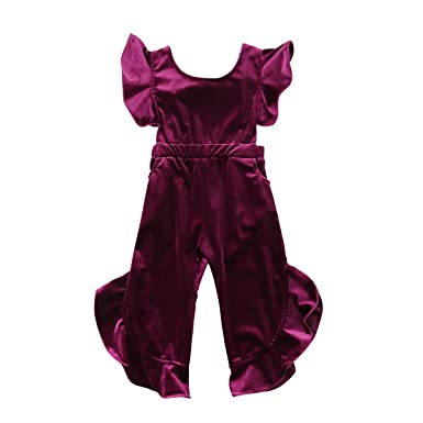 78d29cfe98c FOCUSNORM Toddler Baby Girls Ruffle Sleeveless Overall Jumpsuits Romper Wed  Leg Pants Clothes (Purple