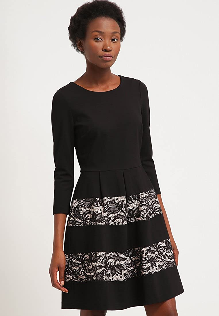 Anna Field Womens Knee Length Jersey Dress With Striped Design Flared Skirt  In Black With Lace c47e87903