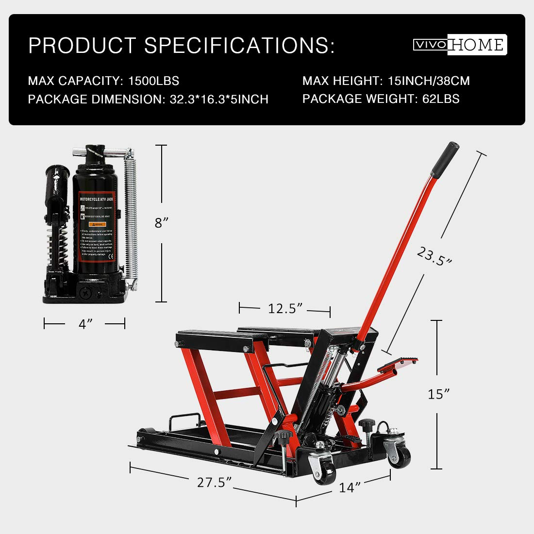 VIVOHOME Steel Hydraulic Motorcycle ATV Lift Jack Hoist Stand 1500Lb by VIVOHOME (Image #5)