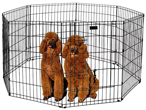 Ultimate Folding Dog Animal Pet Playpen Wire Metal 8 Panel Octagon Black Wire Enclosure Fence Exercise Popup Kennel Crate Tent Portable Gate Cage(XX-Large 48'') by LavoHome (Image #1)