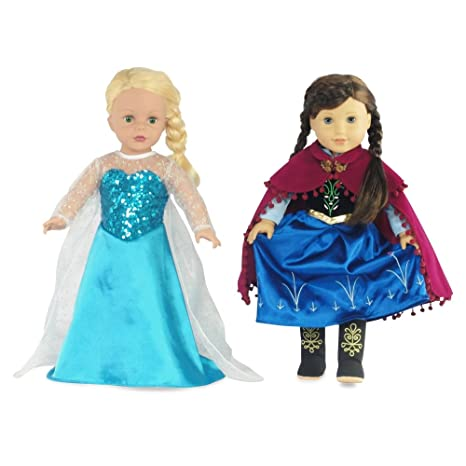 Fits 18u0026quot; American Girl Dolls | Princess Elsa and Anna Inspired Outfit Set | 18  sc 1 st  Amazon.com & Amazon.com: Fits 18