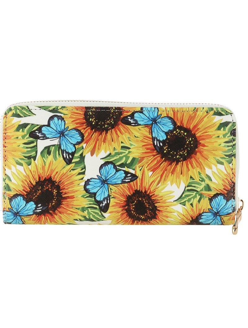 Sunflowers Butterfly Print Vinyl Clutch Wallet Bag (377113 Multi Color)