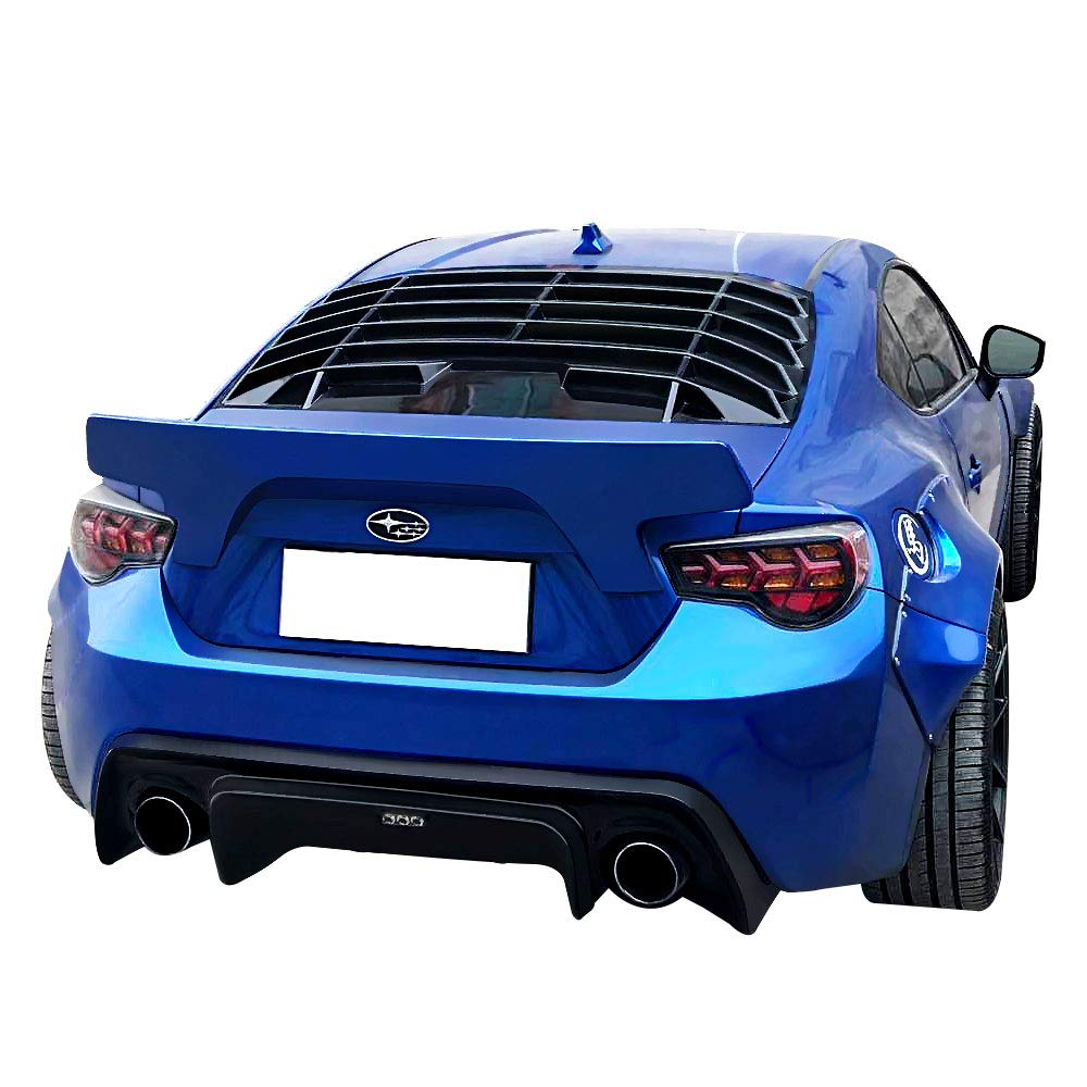 Rear Window Shield Louver Fits 2013-2018 Scion Fr-s Subaru Brz 2014 2015 2016 2017 Ikon Style Black ABS Wind Window Visor Guards by Ikon Motorsports
