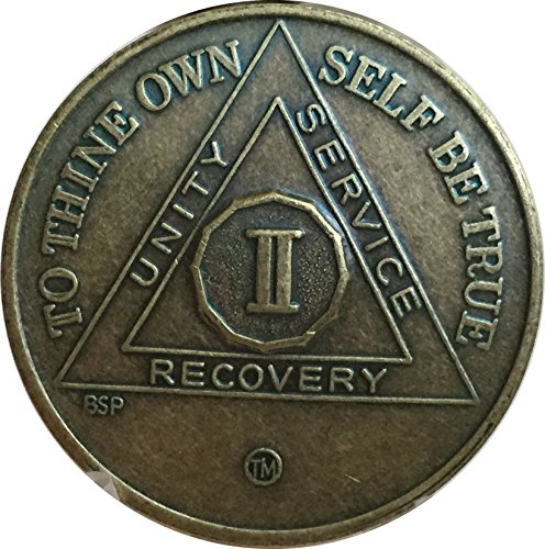 2 Year Antique Bronze AA Medallion Alcoholics Anonymous Sobriety Chip ()