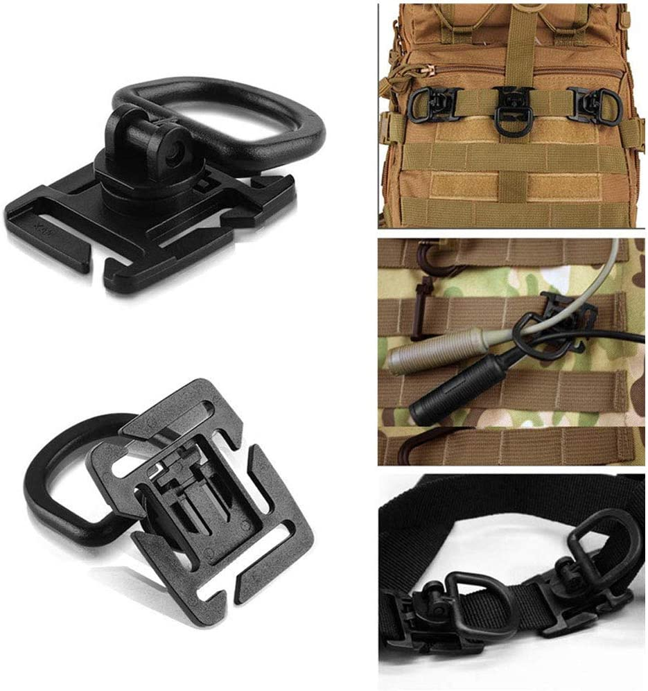 30Pcs//set Tactical Gear Clip Buckle Strap D-ring Hooks Keychain Strap for Molle