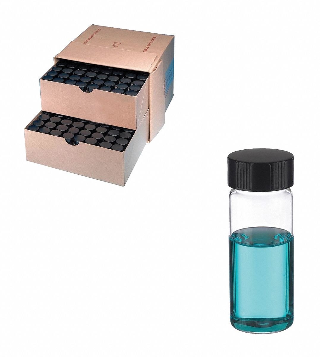 Wheaton Science Products 225289 Clear Borosilicate Glass Sample Vial in Lab File with 24''-400'' Phenolic Rubber-Lined Screw Cap, 25 mL Capacity, 28 mm Diameter x 73 mm Height (Pack of 72)