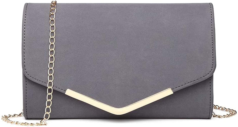 Oiuytghjkl kvinnor clutches mjuk mocka sammet kväll fest bröllop kedja väska kuvert handväska kuvertväskor, 1756 beige 1756 Grey