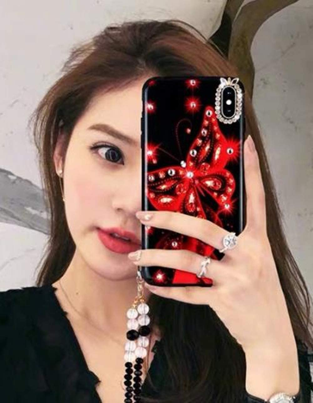 Lozeguyc Galaxy S20 Ultra Bling Marble Kickstand Case,Samsung Galaxy S20 Ultra Luxury Soft Hard Back Case Shiny Glass Shockproof Ring Stand Cover for Samsung Galaxy S20 Ultra 6.9 Inch-Red