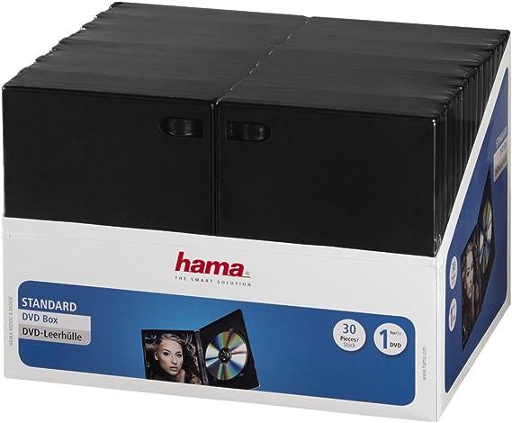 Hama 11495 - Pack de 30 Cajas para CD/DVD, Negro: Amazon.es: Electrónica