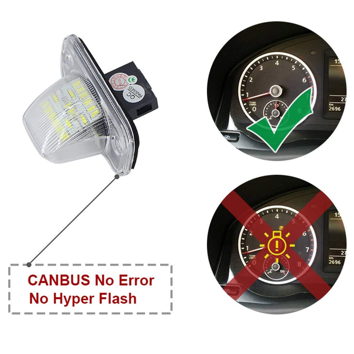 Canbus sans Erreur Blanc 6000K 18SMD LED Lumi/ère pour T4 Transporter 1990-2003 Passat B5 Limousine Caddy Jetta Syncro VIGORFLYRUN PARTS LTD 2Pcs LED Lumi/ère de Plaque dimmatriculation