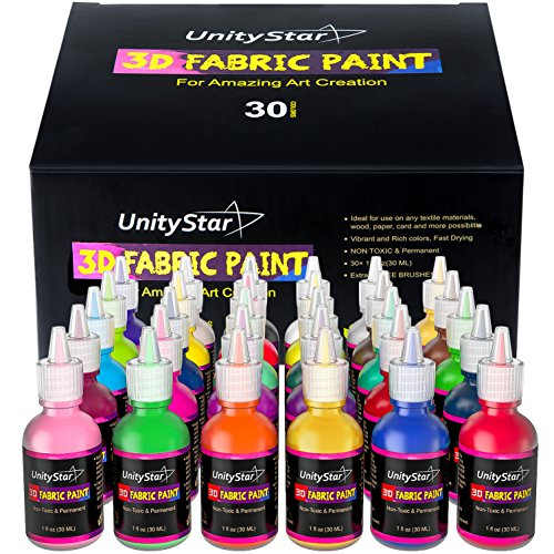 3D Fabric Paint, UnityStar Set of 30 Puffy Paint for Fabric with Permanent Vibrant Colors, 3 Bonus Brushes, Ideal for T-shirts Fabrics Canvas Glass Wood, 30ml Each Image