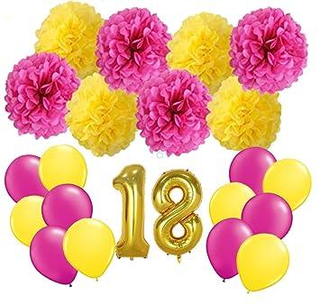 FLGood - Decoración de cumpleaños - Pompones de Papel Rosa ...
