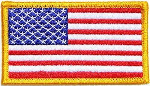 Gold Border UNITED STATES US USA American Flag Team Military Army Biker Jacket T shirt Uniform Patch Sew Iron on Embroidered Badge Sign Costume (United Army Badges States)