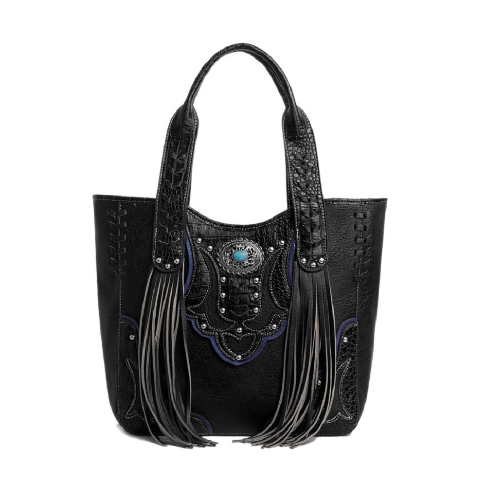 Cowgirl Trendy Western Purse Tassel Tote Handbag with Conceal Carry Pocket Black by Cowgirl Trendy
