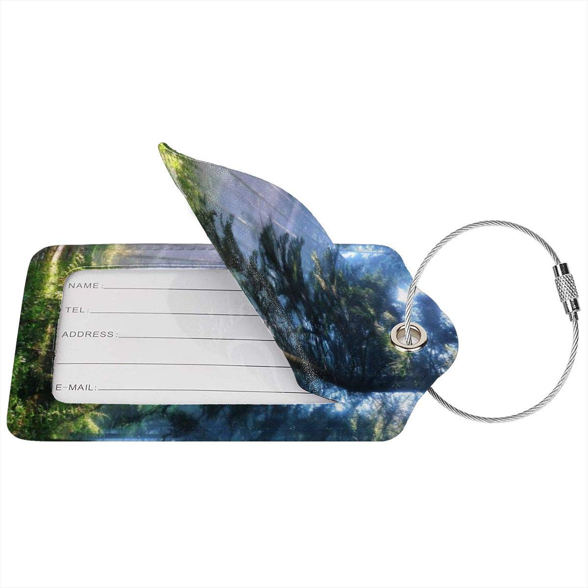 Forest Morning Large Nature Trees Sunrise Foggy Woods Landscape Luggage Tag Label Travel Bag Label With Privacy Cover Luggage Tag Leather Personalized Suitcase Tag Travel Accessories