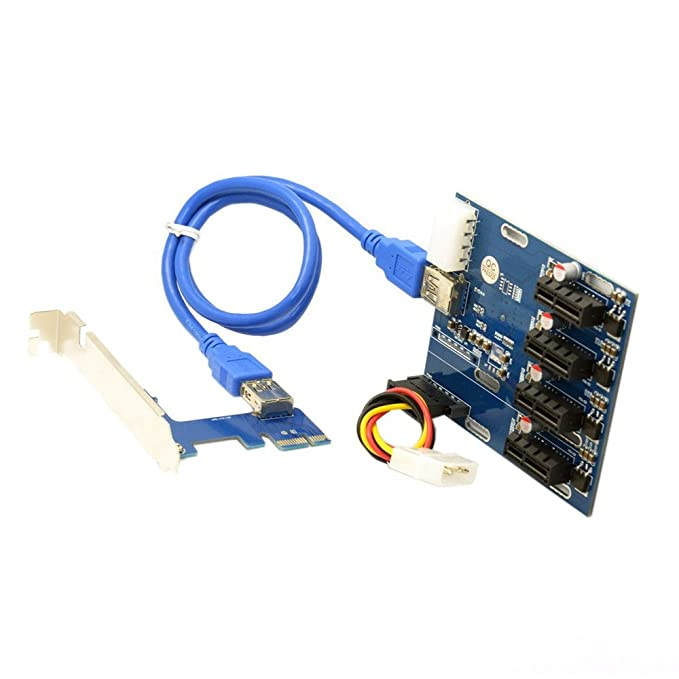 Kalolary-PCI-e Express 1X to 4 Port 1X Switch Multiplier HUB Riser Card for  Ethereum Mining ETH - Extension Cable & 6-Pin PCI-E to SATA Power Cable -