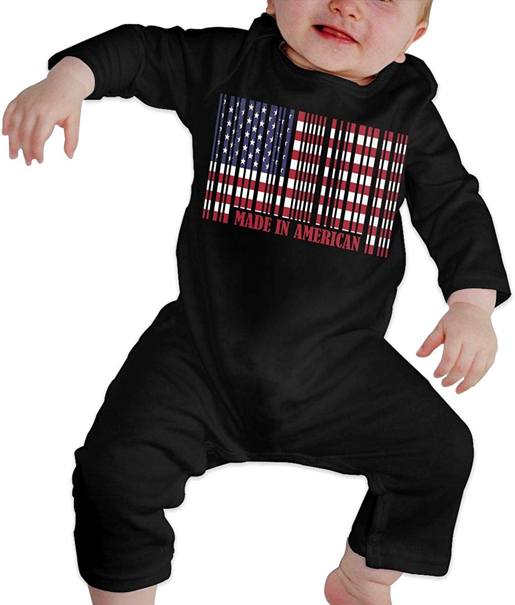 YELTY6F American Barcode Flag Printed Baby Jumpsuit Long Sleeve Rompers Black