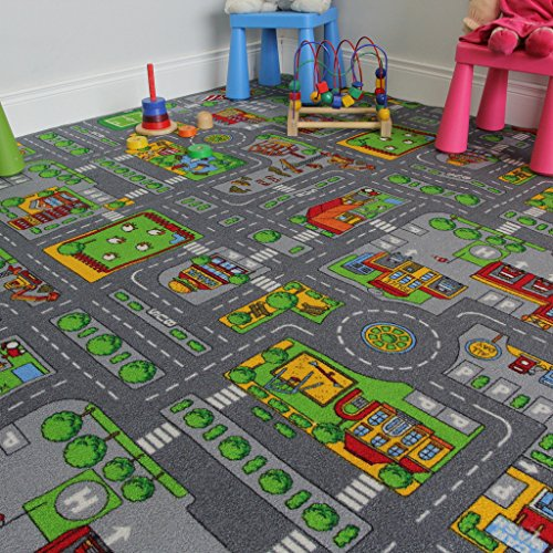 Children's Play Village Mat Town City Roads Area Rug 200cm x 200cm (6ft 7
