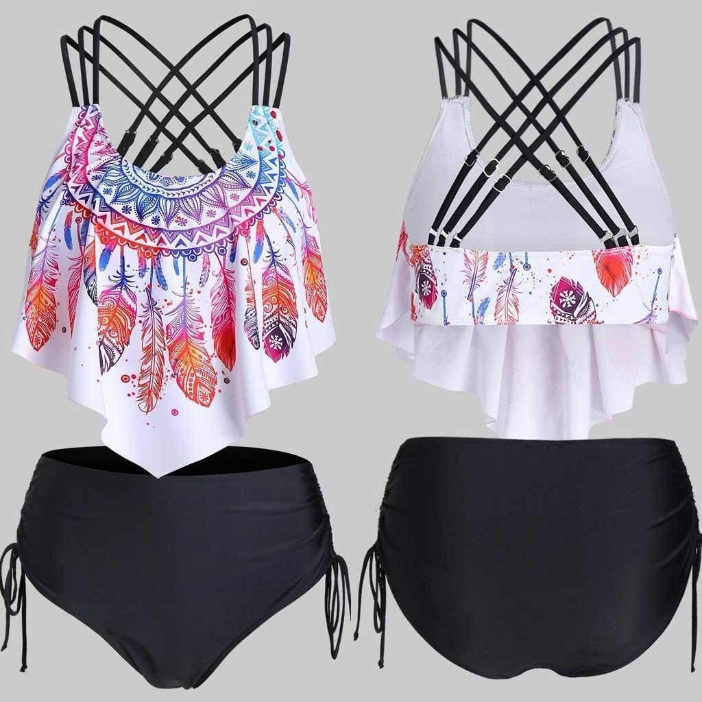 Women Flounce Crisscross Tankini Feather Print Strappy Padded Swim Tops Swimwear