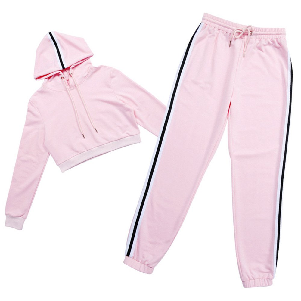 Womens Activewear Sports Set Long Sleeves Crop Top Skinny Pants Outfits Tracksuits