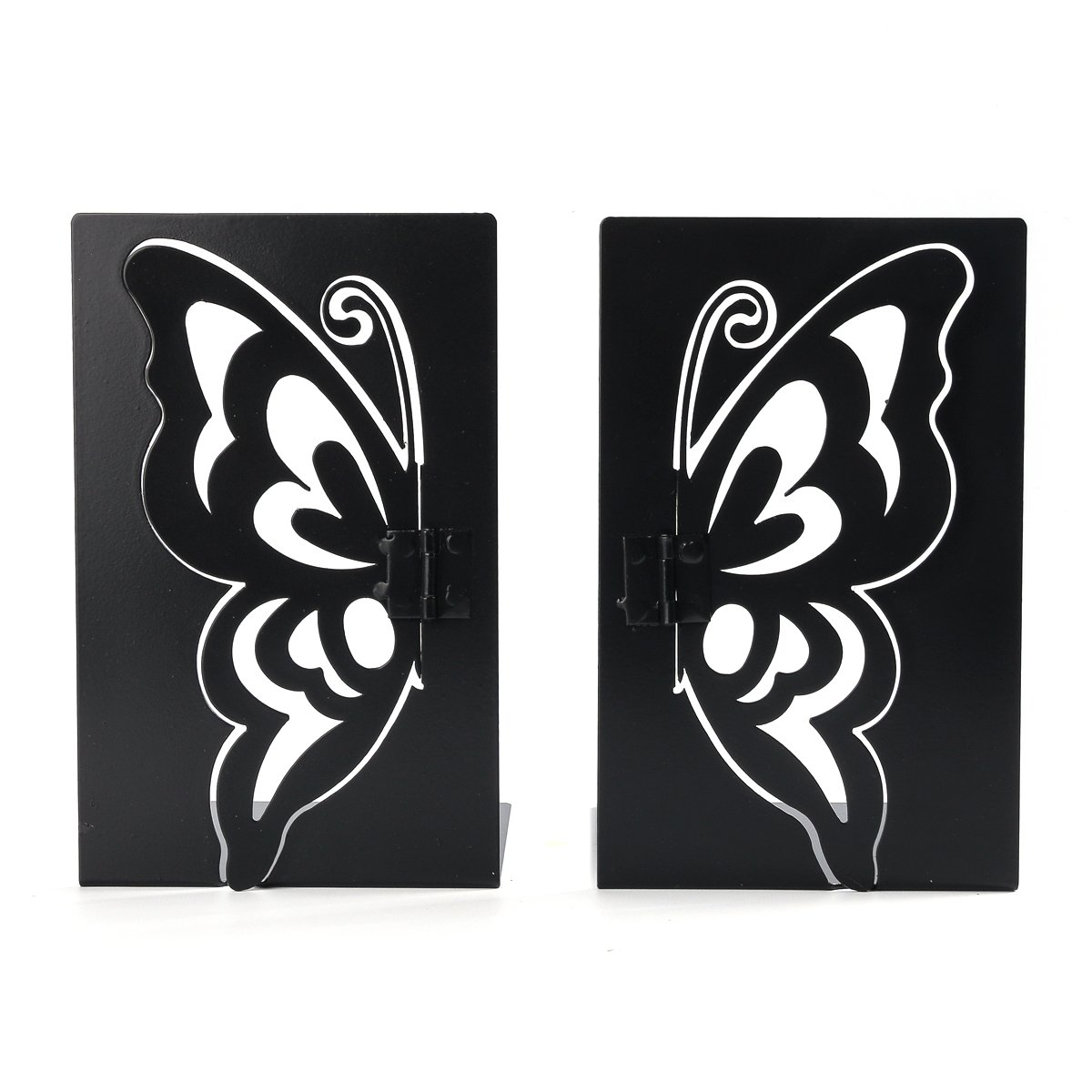 NIKKY HOME Black Butterfly Metal Decorative Nonskid Art Book Ends,1 Pair