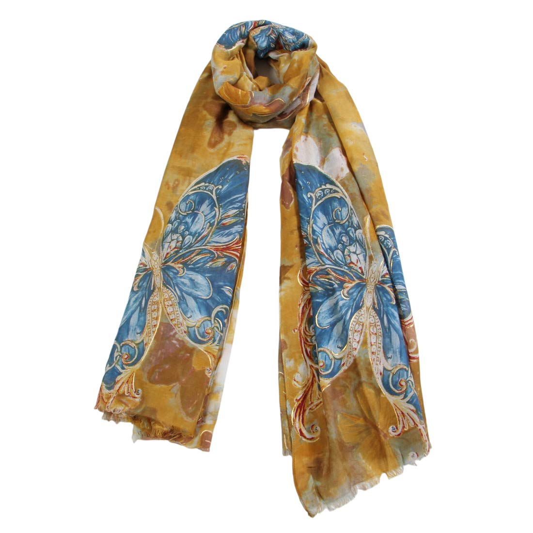 Scarfand's Butterfly Print Thin Fashion Shawl Scarf or Head Wrap (Mustard)