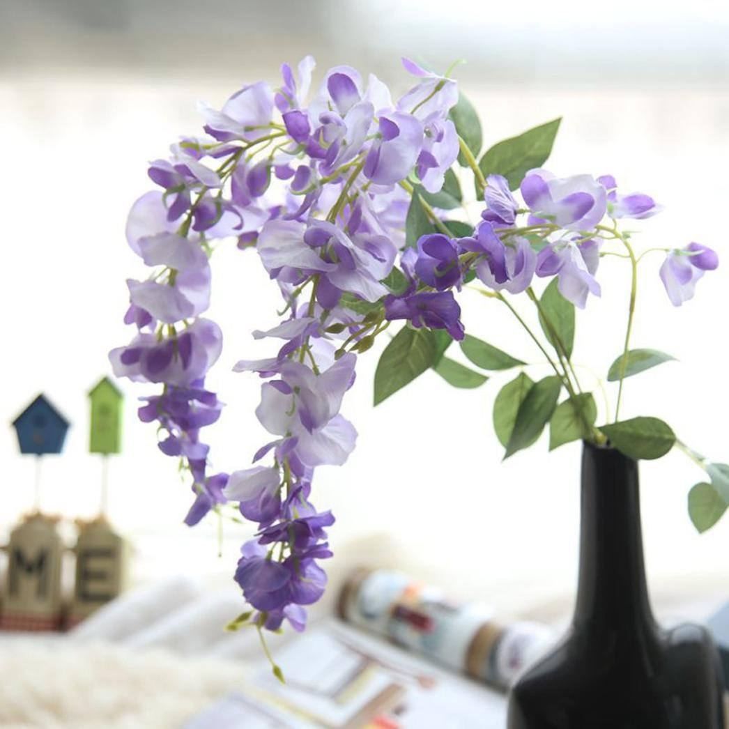 Hot Sale! Neartime Clearance Artificial Silk Wisteria Fake Garden Hanging Flower Plant Vine Wedding Decor (Purple)