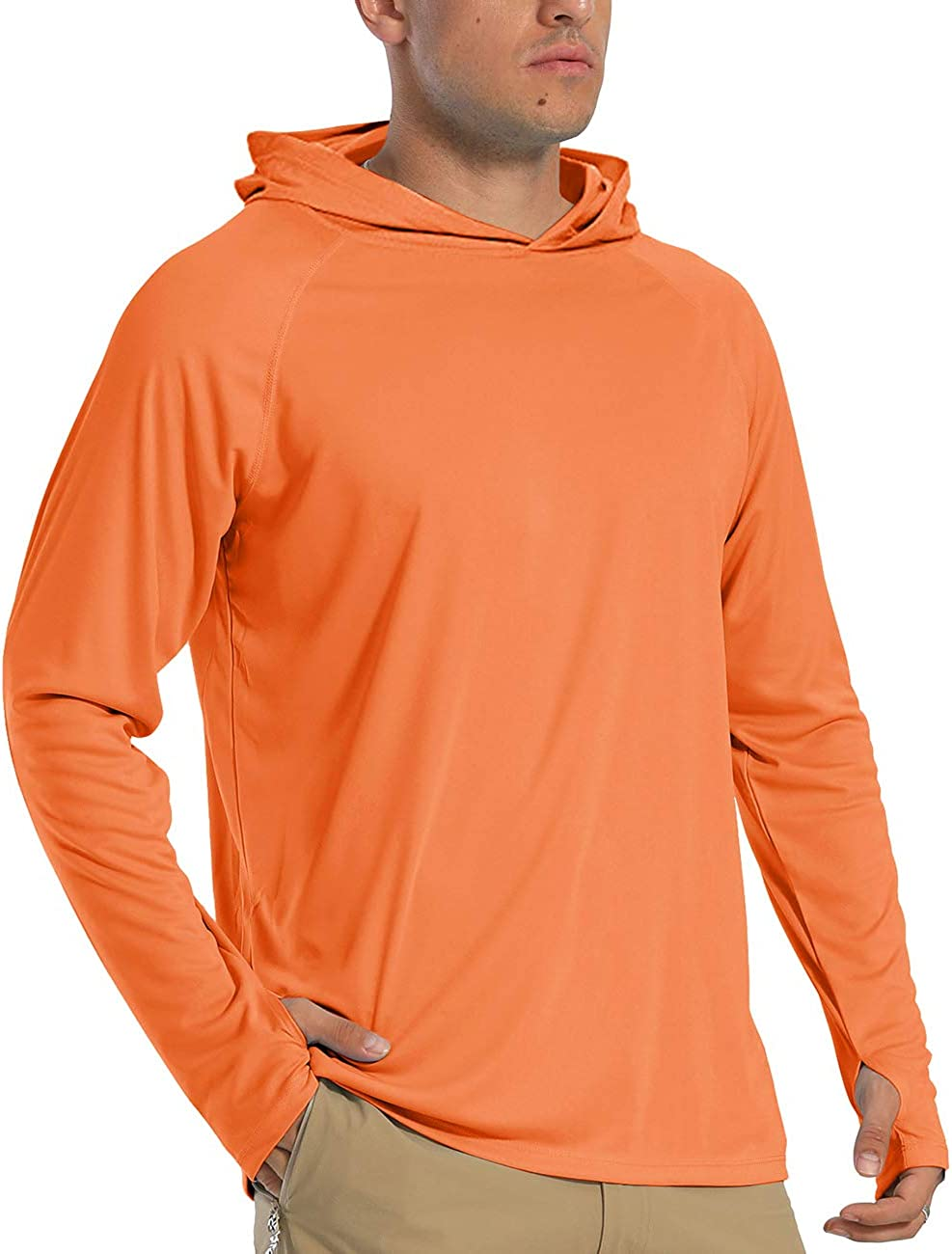 Mens Sun Protection Shirt Long Sleeve with Hoodie UPF 50 Rashguard Outdoor Fishing Shirts