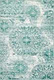 Unique Loom 3138689 Sofia Collection Traditional Vintage Beige Area Rug, 4' x 6' Rectangle, Turquoise