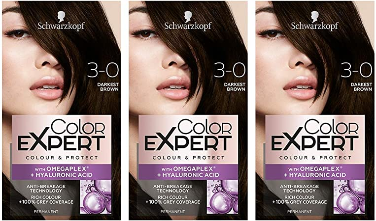Schwarzkopf Color Expert con Omegaplex + tinte para el cabello de ácido hialurónico, 3.0 marrón oscuro – Pack de 3
