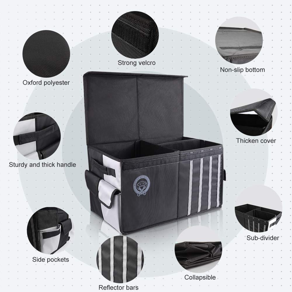 Negro Autopre Modify Organizador Maletero Coche Bolsa Maletero Coche con Bolsillos Laterales Compartimentos M/últiples Organizador Impermeable