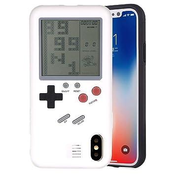 F-FISH Estuche iPhone X / 6 / 6s / 7/8 Plus Funda de Estuche ABS Estuche Protector Que Puede Jugar al Juego clásico [Gameboy] [Tetris] (iPhone X, ...