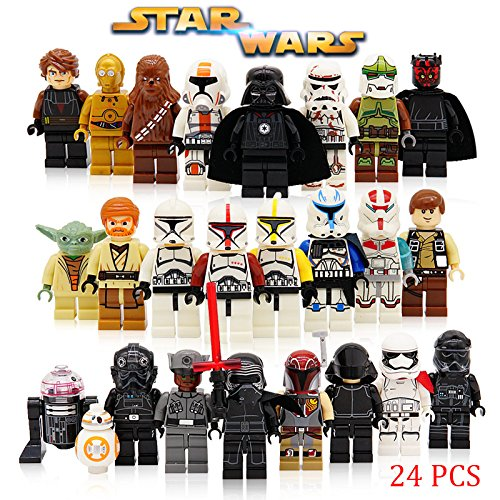 The Whole Star Wars Crew: 24 Star Wars Minifigures with Accessories Yoda Obi-Wan BB8 Stormtrooper Chewbacca Darth Vader Skywalker Tie Fighter and more