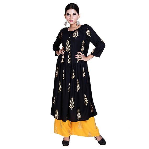 63e92e05f31 Fashion Farmer S Rayon Salwar Suit (Ffkurtaplz01 Black   Gold   S ...