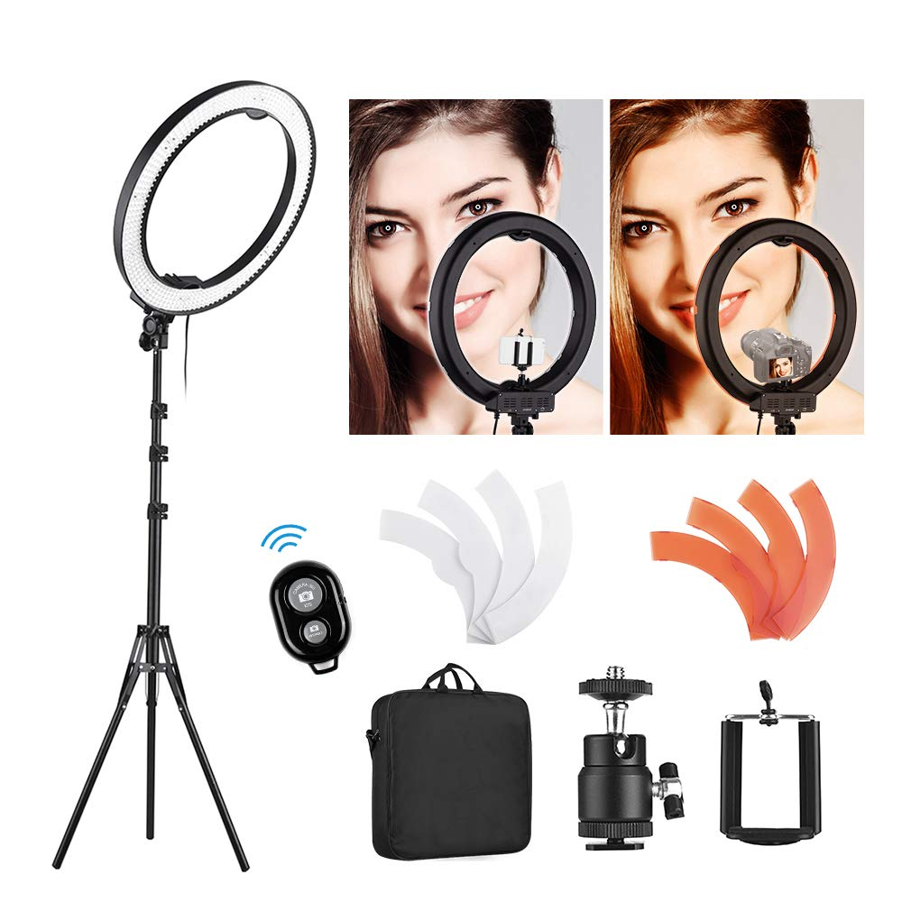 Andoer Ring Light Kit, 18''/48cm Outer 55W 5500K Dimmable LED Ring Light with Light Stand, Phone Holder, Hot Shoe Adapter for Camera,Smartphone,YouTube,Self-Portrait Shooting by Andoer