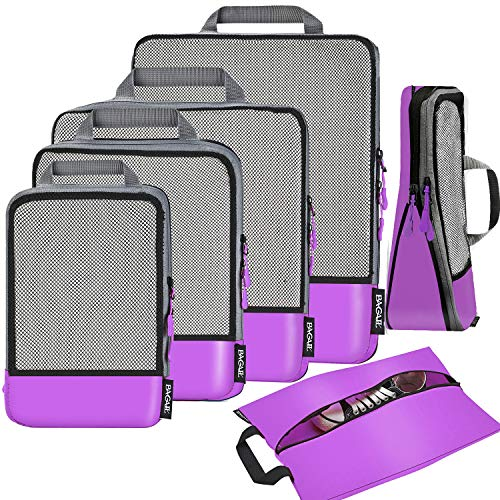 - 6 Set Compression Packing Cubes Travel Expandable Packing Organizers(Purple)