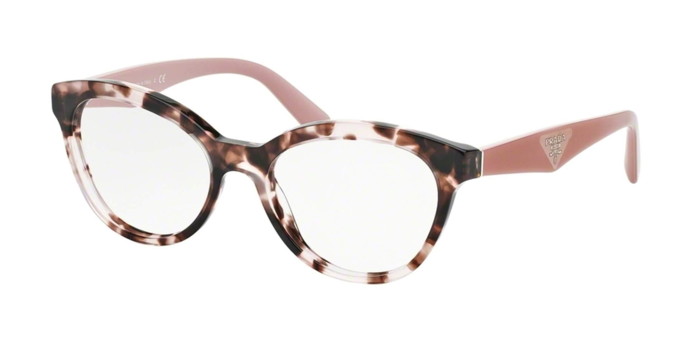 Prada TRIANGLE PR11RV Eyeglass Frames ROJ1O1-52 - Pink Havana PR11RV-ROJ1O1-52 by Prada