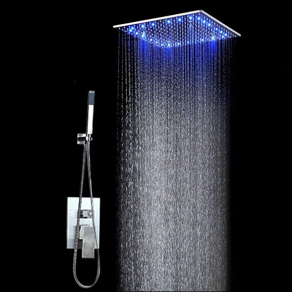 30 CM Doccia a mano Sistema doccia Set doccia Soffione a pioggia Soffione a pioggia Irroratore a soffitto Montaggio a filo Il colore varia in base alla temperatura dellacqua 30